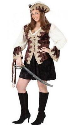 Pirate Costume Royal Lady Br & Crm 2 Pc Short Fancy Dress & Hat Costume Plus