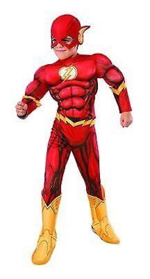 Kid Flash Halloween Costume (Rubies Flash Deluxe Muscle Halloween Dc Comics Cosplay Child Costume)