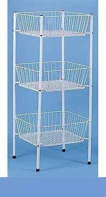 Display Bin Wire Rack Dump 3 Tier Square Basket Rack 46 Tall Mercandise Toys