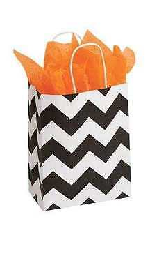Paper Bags Shopping 25 Chevron 8 X 4 X 10 Cub Black White Retail