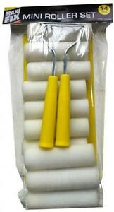 MINI PAINT ROLLER KIT / SET 14 PC FOR GLOSS EGGSHELL FOAM .TRAY AND EMULSION