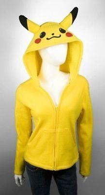 Pokemon Pikachu Adult Costume Hoodie Sweater Shirt Zipper Jacket Hoodie All Size](Pikachu Costume)
