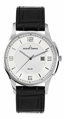 Jacques Lemans Armbanduhr XL London Solar Analog Leder Classic Herrenuhr 11624A