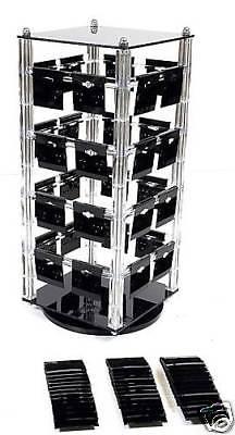 Rotating Earring Display Stand Jewelry Revolving With 100 Black Earring Cards  Display Stand Black Rotating Earring