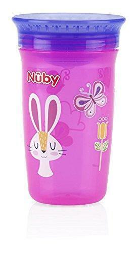 Nuby 1pk No Spill 360 Degree Printed Wonder Cup -Colors May Vary
