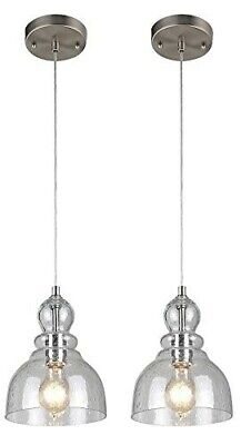 Kitchen Pendant Hanging Lights Fixture Industrial Glass Island Brushed Nickel (Clear Glass Pendant Lights For Kitchen Island)