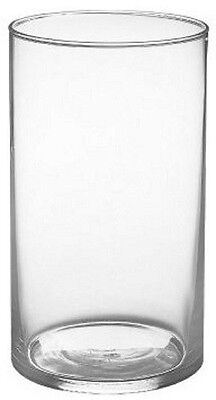 """Contemporary Modern Clear Round Shape Cylinder Tall Flower Glass Vase 9"""""""