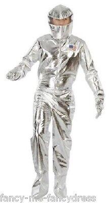 Herren Silber Astronaut Raum Cadet American Kostüm Kleid Outfit Größe L