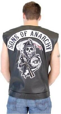 Sons Of Anarchy Black Faux Leather Highway Reaper Patch Biker Vest S 4Xl