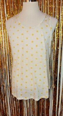 Womens Plus 2x White Front Yellow Polka Dots Back Yellow And White Stripes Tank (Stripes And Polka Dots)