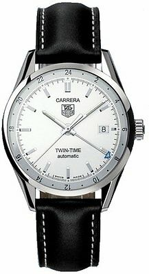 WV2116.FC6202 TAG HEUER CARRERA AUTOMATIC GMT BLACK LEATHER STRAPMENS WATCH