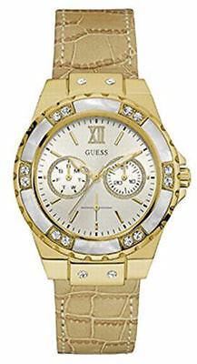Guess Women's Multi-Function Gold Tone Leather Watch W0775L2