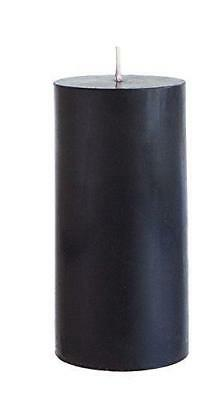 Mega Candles Unscented Black Round Pillar Candle | Hand Pour