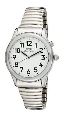 TimeOptics Men's Talking Silver-Tone Day Date Alarm Flex Band Watch # -