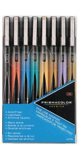 Prismacolor Premier Illustration Fine Line Markers - 05 Nib - 8 Assorted Colors