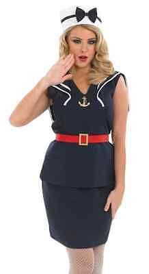 1940s Sailor Costume (Ladies Sexy 1940s Pin Up Sailor Forces Fancy Dress Costume Outfit 8-26 Plus)