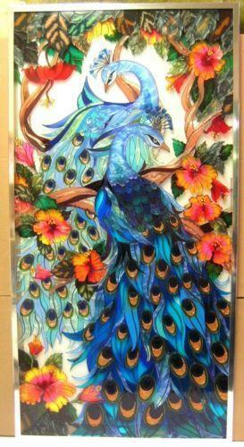 Stained Glass Panel Peacock Ebay