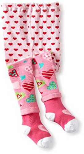 NWT Jefferies Socks Baby Girl Pink Hearts Tights ~ Size 18-2