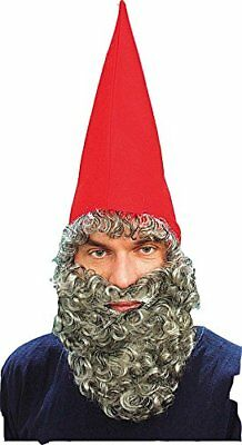 Dwarf Gnome Hat Red & Beard - Red Beard Kostüm