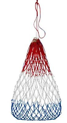 Red White & Blue Poly Knotted Nylon Rope Slow Feed Hay Bag Net w Draw String