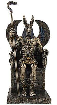 "10.5"" Egyptian God Anubis on Throne Egypt Decor Statue Sculpture Figure"