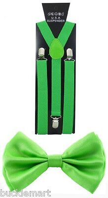 Lime Green SUSPENDERS and BOW TIE COMBO SET Unisex Adjustable suspender bowtie