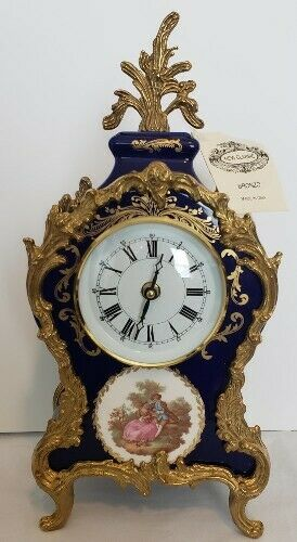 Italian Mantle Clock, Cobalt Porcelain and Bronze