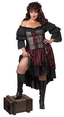 Plus Size Hot Pirate Wench Adult Halloween Costume (Plus Size Ladies Pirate Costume)