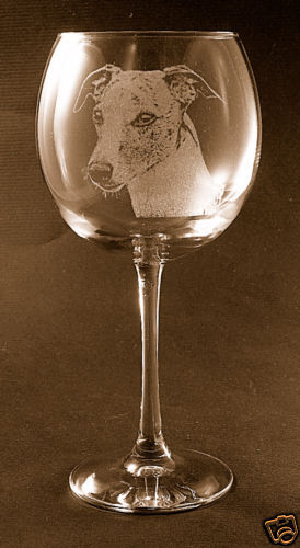 New! Etched Whippet on Elegant Wine Glass - Set of 2