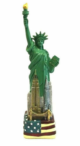 """6"""" Statue of Liberty Figurine w.Flag Base and New York City SKYLines from NYC"""