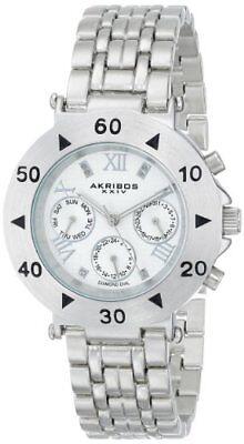 Akribos XXIV Women's Watch Swiss Quartz Diamond Dial Silver Tone Alloy AK686SS
