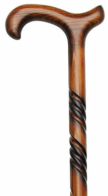 Men's GERMAN CARVED SPIRAL SCORCHED CHERRY WOOD WALKING CANE CANES
