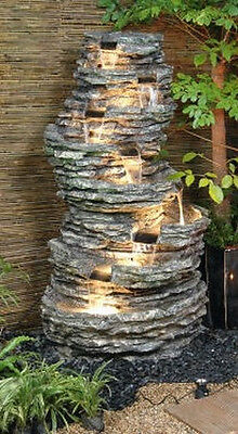 8 Tier Rock Pool Water Feature Fountain Cascade Waterfall Natural Stone Effect