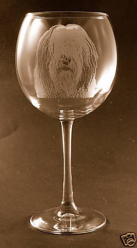 Etched Old English Sheepdog on Elegant Wine Glasses - Set of 2