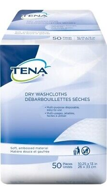 Tena Washcloth Disposable Dry Wipes, 10X13.25 In, 50 Pack, 74499 - Case of 1000 Dry Disposable Wash Cloths