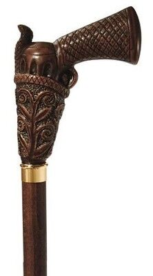 CONCORD PEACEMAKER Brown Wood Shaft Mens Gun or PIstol Handle Walking Cane-Italy