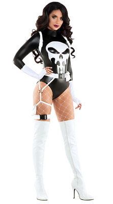 Sexy Starline The Punishing One Black & White Bodysuit Punisher Costume S6114