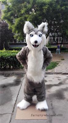 ADS Long Fur Gray Husky Dog Mascot Costume Fox Halloween Adult Fancy Suit - Gray Fox Halloween Costume