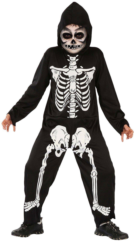 Halloween Skelett Kostüm für Kinder Jungen schwarz weiß Karneval Fasching Junge