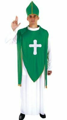 St Patrick Day Man Green Bishop Costume New Irish Fancy Dress Priest Accessories