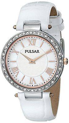 Pulsar Women's Quartz Swarovski Stainless Steel White Leather Watch PM2127