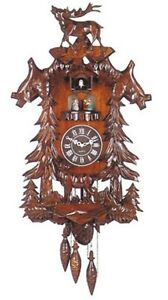Large Deer Handcraft Wood Cuckoo Clock with 4 Dancers Dancing with Music