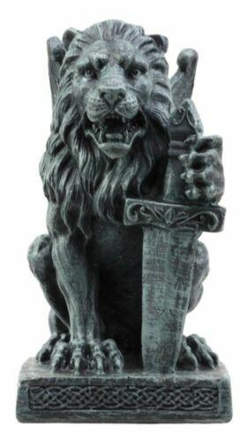 Ebros Gift Stoic Notre Dame Roaring Lion Heart Gargoyle On Pedestal Figurine