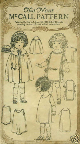 "18"" Antique  Doll Clothing Pattern  #3491"