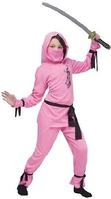 Girls Pink Japanese Oriental Ninja Halloween Fancy Dress Costume Outfit 4-12 yrs - Ninja Girl Outfits