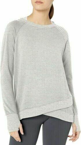 Danskin Women's R&r Crisscross Tunic Top Cream Heather/Grey Stripe XXL (NWOT) Clothing, Shoes & Accessories