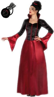 Edle Vampirin Damen Kostüm M/L o. XL Gräfin Königin Vampir Kleid Haarreif m. Hut