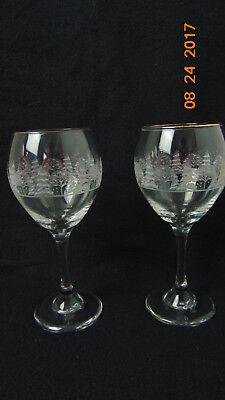 Lot -2 Vintage Elegant  Water Wine Glass GOBLET -Tree/ christmas  Design ()
