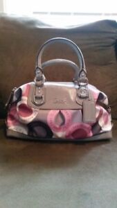 Coach Ashley F15451 Pink Gray Snap Head Satchel Patent Leather