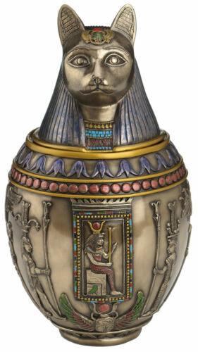 Egyptian Bastet Cat Memorial Urn Canopic Jar Sculpture **WELL MADE